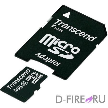 Карта памяти Transcend microSDHC 4GB Class 10