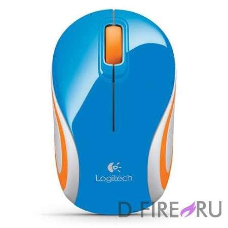 Мышь Logitech M187 Wireless Mini, Blue USB