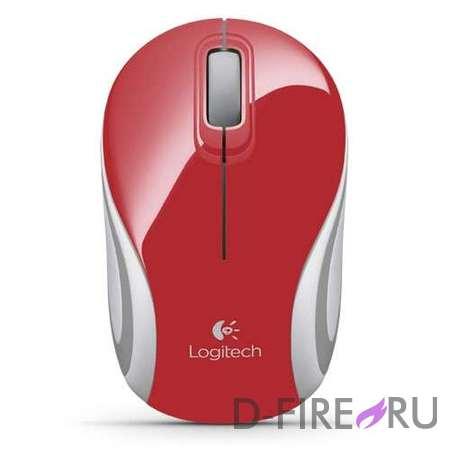 Мышь Logitech M187 Wireless Mini, Red USB